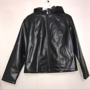 ROSSO Black Leather Men's Jacket in XXL